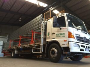 Truck with pallet racking